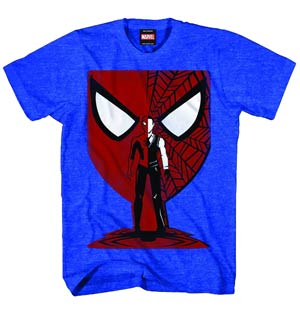 Spider-Man Vector Mask Previews Exclusive Blue Heather T-Shirt Large