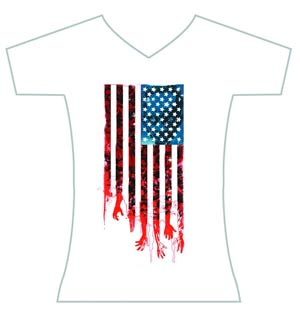 Walking Dead Flag Womens T-Shirt Large