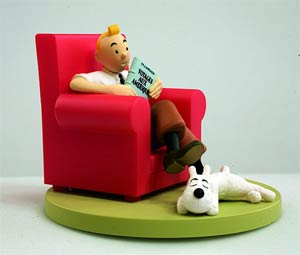Tintin Tintin At Home In His Library Box Scene Statue