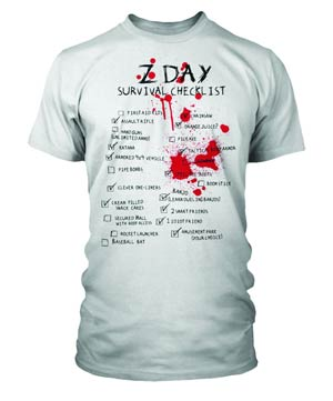 Z-Day Survival Checklist White T-Shirt Large