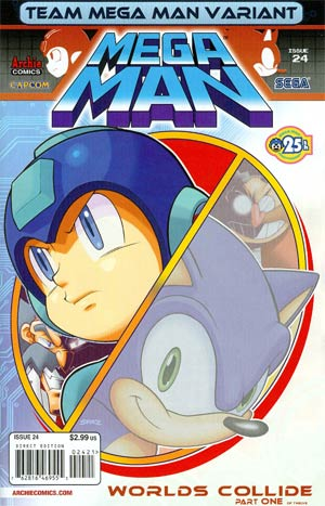 Mega Man Vol 2 #24 Variant Team Mega Man Cover (Worlds Collide Part 1)