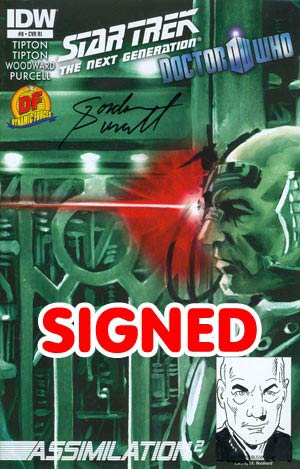 Star Trek The Next Generation Doctor Who Assimilation2 #8 Cover E DF Signed & Remarked By Gordon Purcell