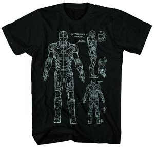 Iron Man 3 Blueprint-M Previews Exclusive Black T-Shirt Large