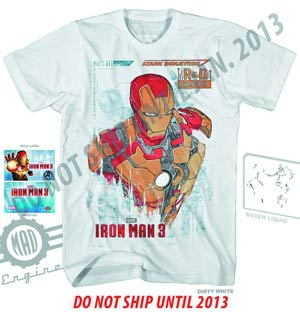 Iron Man 3 R And D-M Dirty White T-Shirt Large