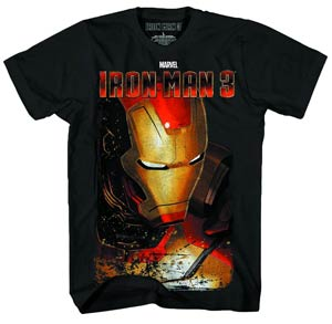 Iron Man 3 Full Shell-M Previews Exclusive Black Liquid Gold T-Shirt Large