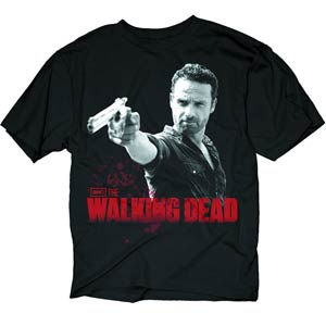 Walking Dead Rick & Pistol Previews Exclusive Black T-Shirt Large
