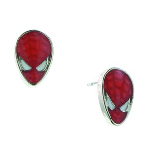 Spider-Man Silver Tone Red Enamel Stud Earrings