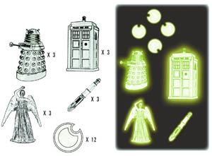 Doctor Who Glow-In-The-Dark 2D Moulded Sticker Set