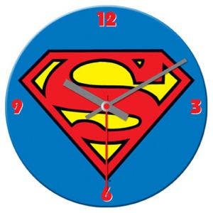 Superman 13.5-Inch Cordless Wood Wall Clock