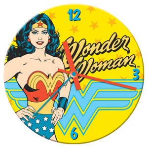 Wonder Woman 13.5-Inch Cordless Wood Wall Clock