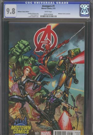 Avengers Vol 5 #1 Midtown Exclusive J Scott Campbell Connecting Variant Cover (Part 3 of 3) CGC 9.8