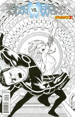 Bionic Man vs Bionic Woman #2 Incentive Sean Chen Black & White Cover