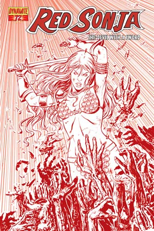 Red Sonja Vol 4 #72 High-End Walter Geovani Blood Red Ultra-Limited Variant Cover (Only 25 In Existence)