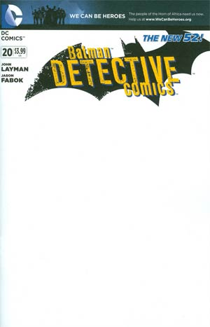 Detective Comics Vol 2 #20 Variant We Can Be Heroes Blank Cover