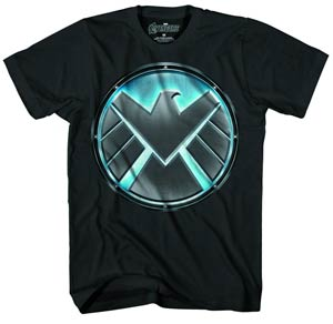 S.H.I.E.L.D. Pit Logo Previews Exclusive Glow-In-The-Dark Black T-Shirt Large