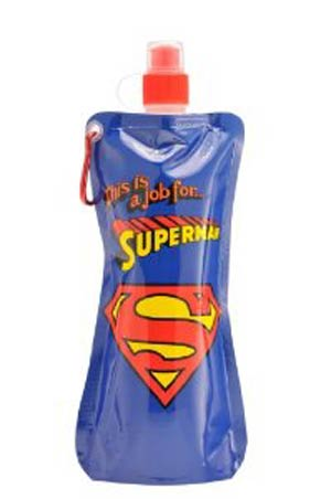 Superman 20-Ounce Blue Emblem Collapsible Water Bottle