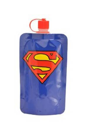 Superman 7.5-Ounce Blue Emblem Collapsible Water Bottle