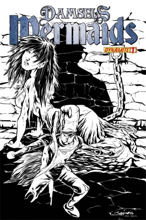 Damsels Mermaids #1 High-End Jean-Paul Deschong Black & White Ultra-Limited Cover (ONLY 25 COPIES IN EXISTENCE!)