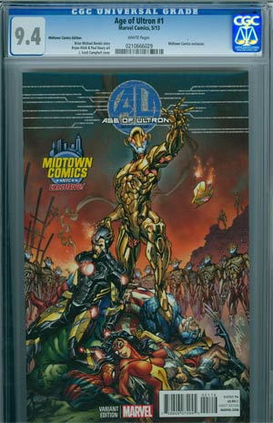 Age Of Ultron #1 Midtown Exclusive J Scott Campbell Color Variant Cover CGC 9.4