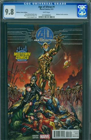 Age Of Ultron #1 Midtown Exclusive J Scott Campbell Color Variant Cover CGC 9.8