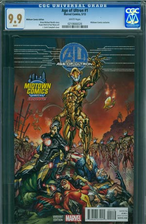 Age Of Ultron #1 Midtown Exclusive J Scott Campbell Color Variant Cover CGC 9.9