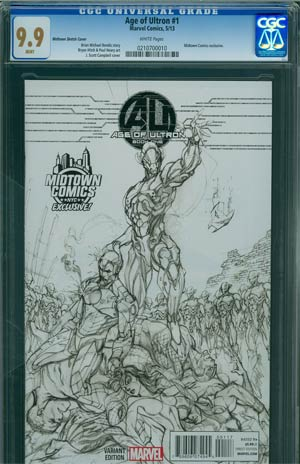 Age Of Ultron #1 Midtown Exclusive J Scott Campbell Sketch Variant Cover CGC 9.9
