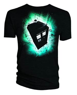 Doctor Who Green & Blue Art TARDIS T-Shirt Large