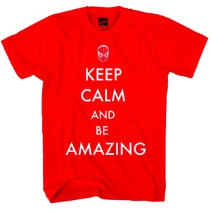 Spider-Man Keep Calm And Be Amazing Previews Exclusive Red T-Shirt Large