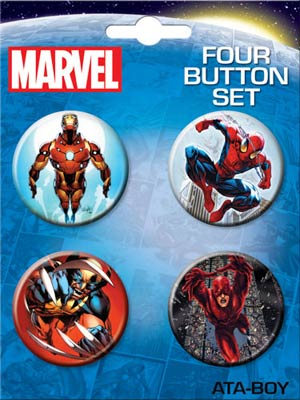 Marvel Comics 4-Button Set #6 Iron Man Spider-Man Wolverine And Daredevil
