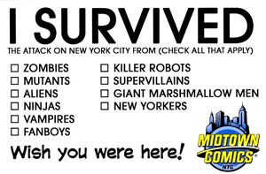 Midtown Comics Postcard - I Survived NYC