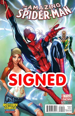 Amazing Spider-Man Vol 3 #1 Cover X Midtown Exclusive J Scott Campbell Connecting Color Variant Cover Signed By Dan Slott