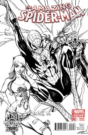 Amazing Spider-Man Vol 3 #1 Cover C Midtown Exclusive J Scott Campbell Connecting Sketch Variant Cover (2 of 3)