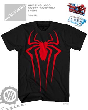 Amazing Spider-Man 2 Movie Black & Red Midtown Exclusive Mens T-Shirt Large