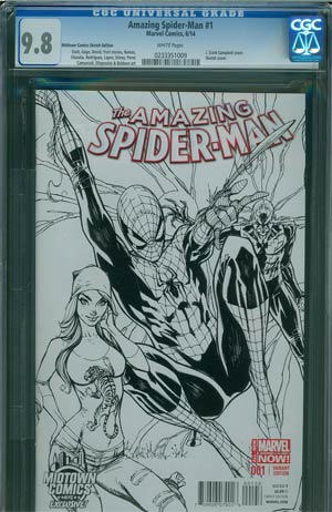 Amazing Spider-Man Vol 3 #1 Cover Z-B Midtown Exclusive J Scott Campbell Connecting Sketch Variant Cover CGC 9.8