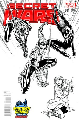 Secret Wars #1 Cover C Midtown Exclusive J Scott Campbell Black & White Variant Cover