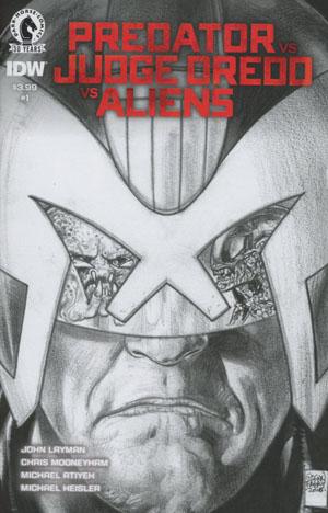 Predator vs Judge Dredd vs Aliens #1 Cover B Variant Glenn Fabry Sketch Cover