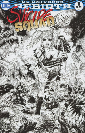Suicide Squad Vol 4 #1 Cover C Midtown Exclusive Tyler Kirkham Black & White Variant Cover