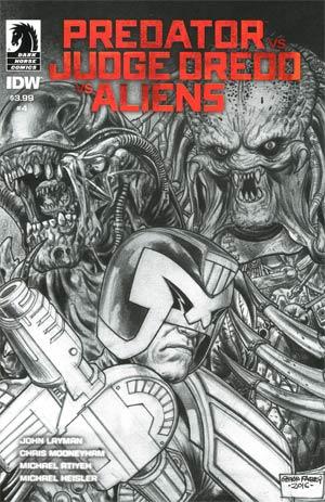 Predator vs Judge Dredd vs Aliens #4 Cover B Variant Glenn Fabry Sketch Cover