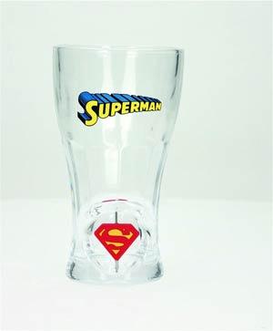 DC Heroes 3D Rotating Logo Soda Glass - Superman