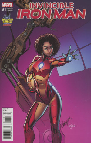 Invincible Iron Man Vol 3 #1 Cover B Midtown Exclusive J Scott Campbell Armor Variant Cover (Marvel Now Tie-In)