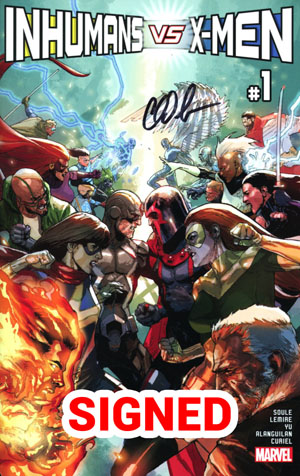 Inhumans vs X-Men #1 Cover L Regular Leinil Francis Yu Cover Signed By Charles Soule