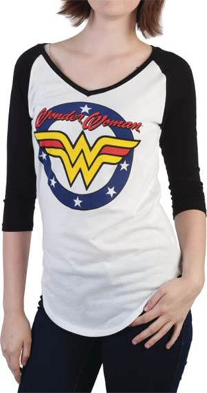 DC Comics Wonder Woman Logo V-Neck Raglan Shirt Large