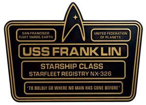 Star Trek Dedication Plaque #5 USS Franklin NX-326