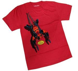 Deadpool Beats Flying Red Mens T-Shirt Small