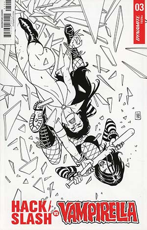 Hack Slash vs Vampirella #3 Cover D Incentive Goran Sudzuka Black & White Cover