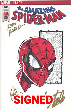 Amazing Spider-Man Vol 4 #789 Cover I DF Remarked With A Ken Haeser Sketch & Signed By Stan Lee & John Romita Sr (Marvel Legacy Tie-In)