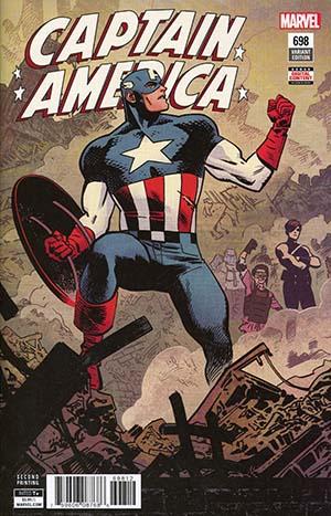 Captain America #698 Cover C 2nd Ptg Variant Chris Samnee Cover (Marvel Legacy Tie-In)