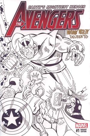 Avengers Infinity War DF Sketch Covers Signed & Remarked By Mariano Nicieza & Joe Delbeato