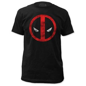 Deadpool Distressed Logo Fitted Jersey Black Mens T-Shirt Small