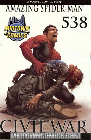 Amazing Spider-Man Vol 2 #538 Exclusive Midtown Comics NYCC 2007 Crain Variant Spoiler Cover (Civil War Tie-In)